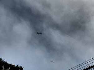 Military choppers kept on flying by